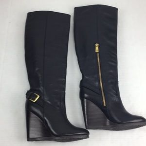 """Coach Leather Tall Wedge Black """"Dorthy"""" Boots 6"""
